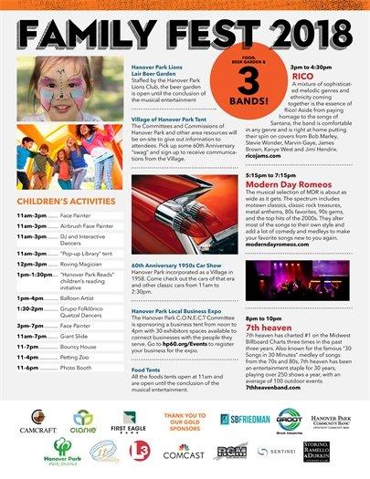 2018 Family Fest Schedule