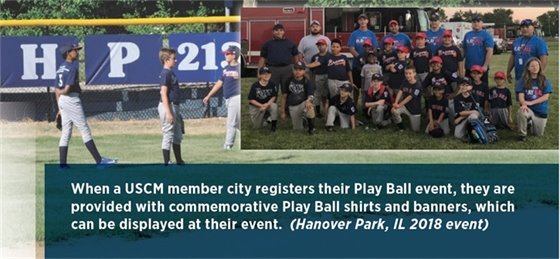 Two photos of Hanover Park Play Ball event in 2018