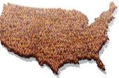 census picure of people in the shape of the U.S.