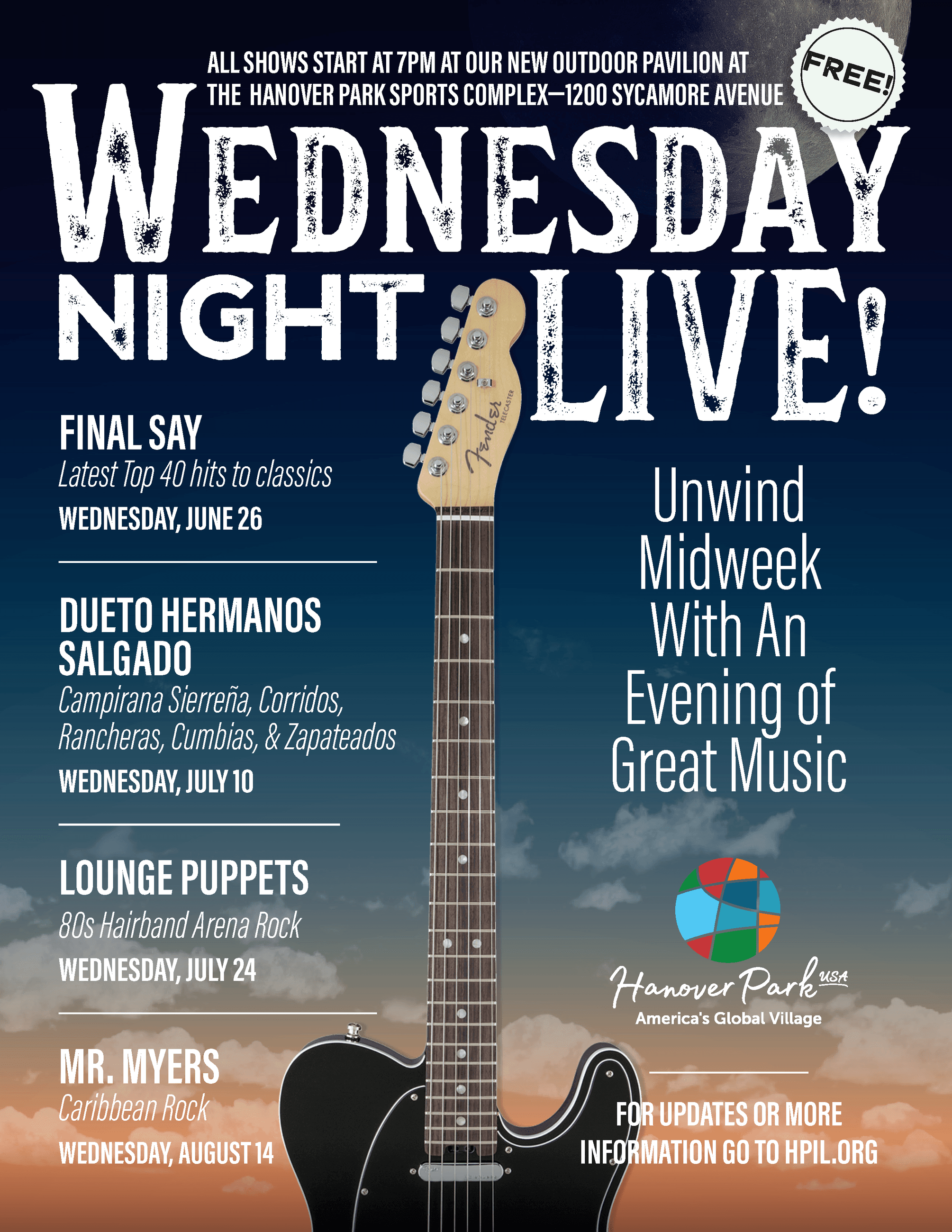 Wednesday Night Live Flyer revised with June 26 date