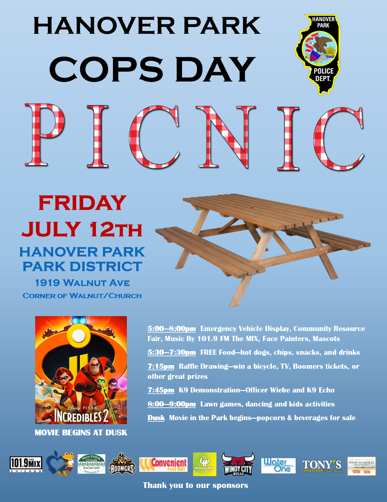 Flyer for COPS Day annual picnic