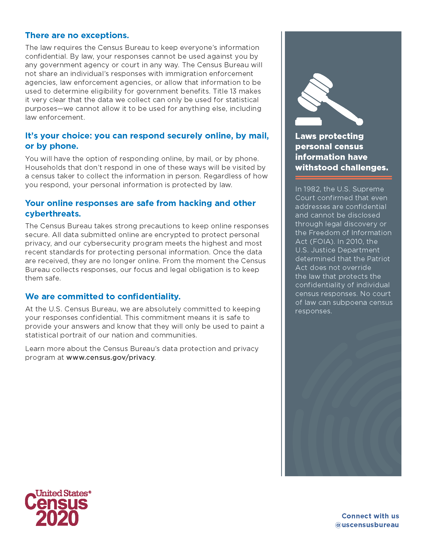 2020 Census confidentiality factsheet Page 2