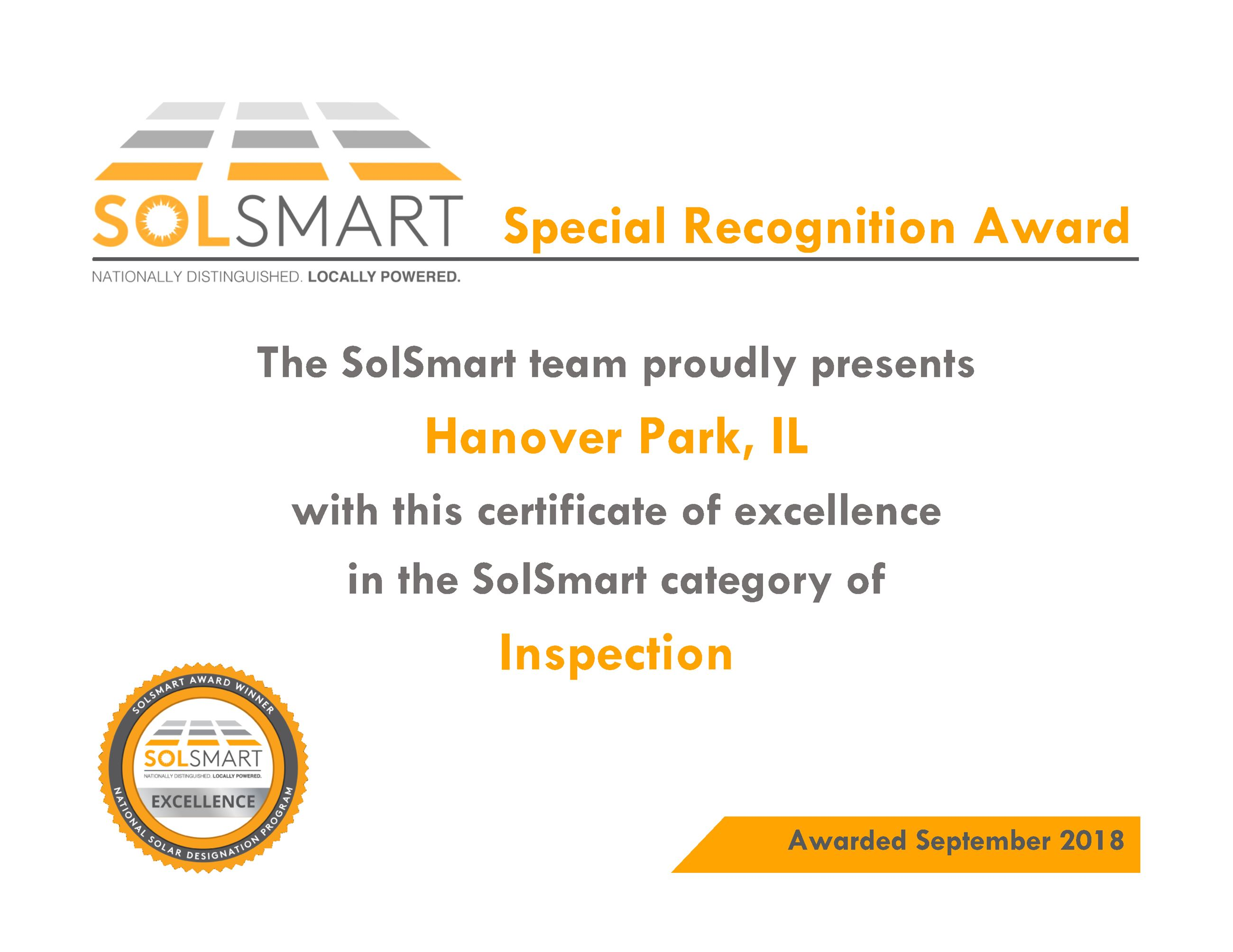 Special Recognition Award_HanoverPark